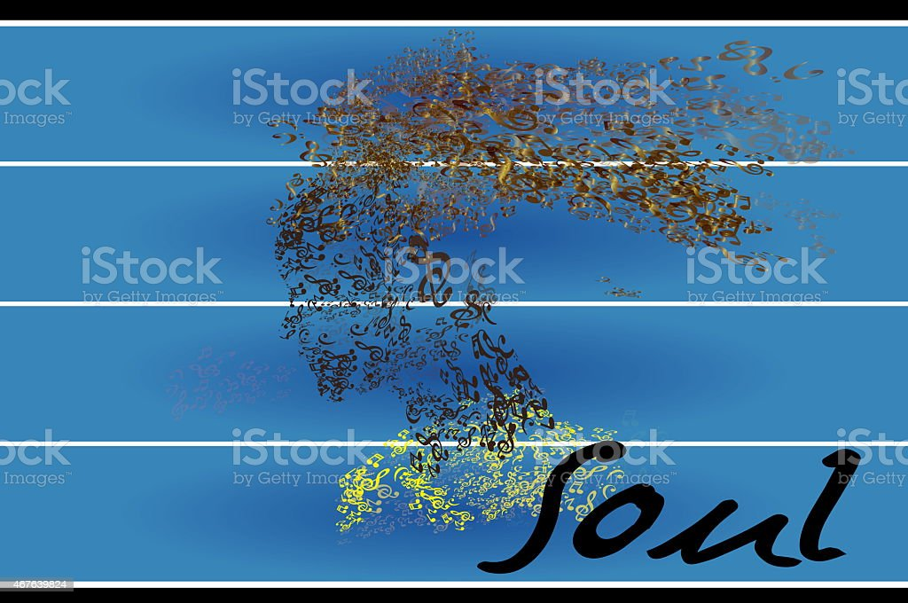 Music woman, musical head and hair with soul word stock photo