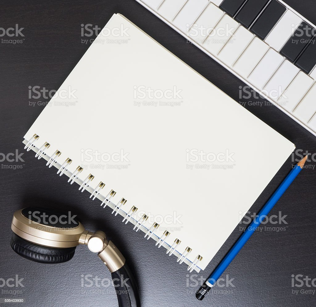 Music Writing Equipments. Music Technology. stock photo