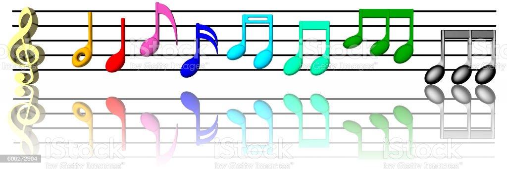 Musica pentagramma colorato 004 stock photo