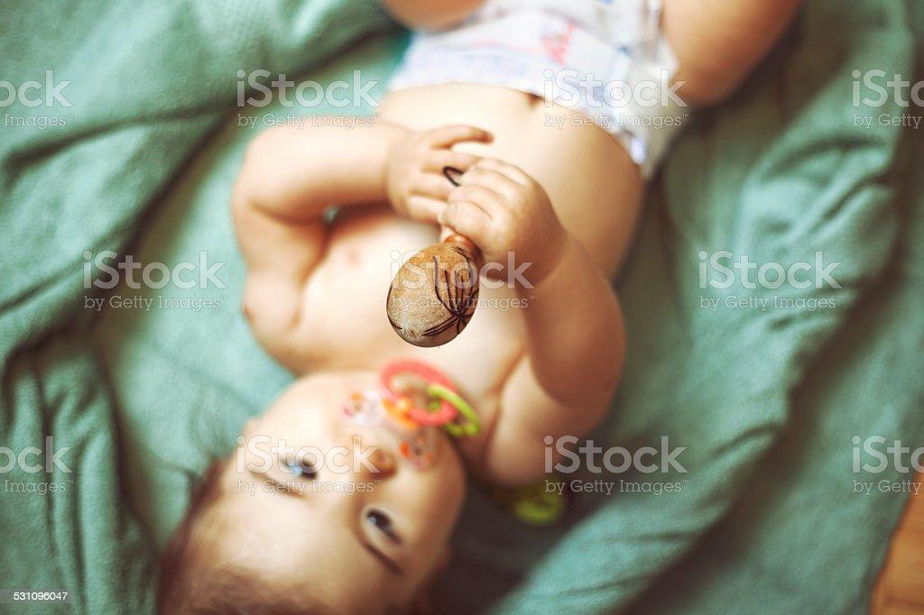 Musical baby bonding stock photo