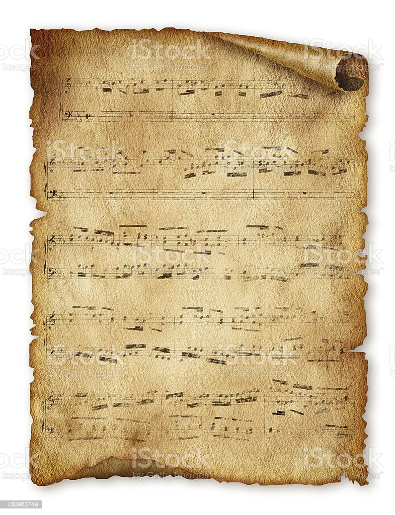 Musical background, old paper, note, music sheet page royalty-free stock photo
