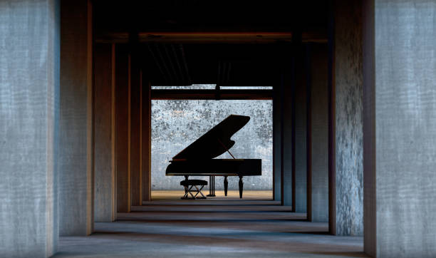 Musical background. Piano music concept stock photo