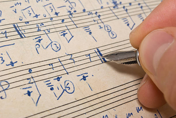 Musical background  sheet music stock pictures, royalty-free photos & images