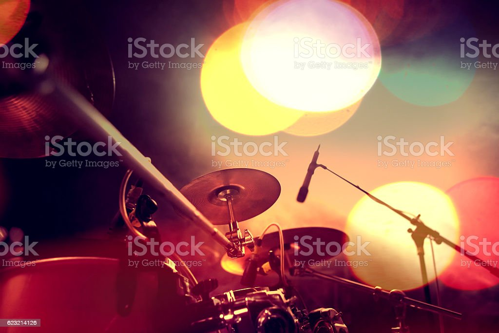 Musical background.Drumkit on stage lights performance stock photo