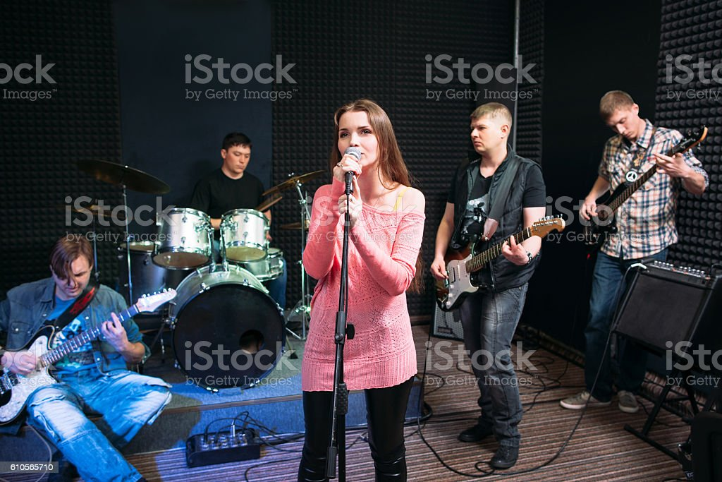 Musical band performance, hobby, leisure stock photo