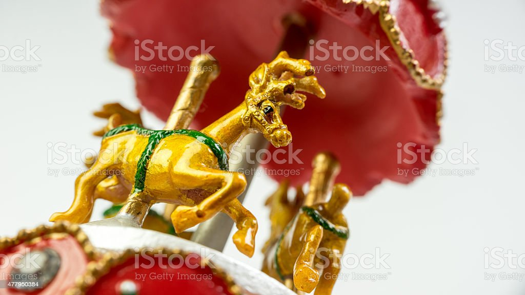 Musical carousel deer with Christmas theme decoration stock photo