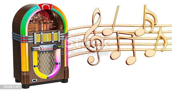 istock Musical concept. Jukebox with music notes, 3d rendering isolated on white background 1053631922