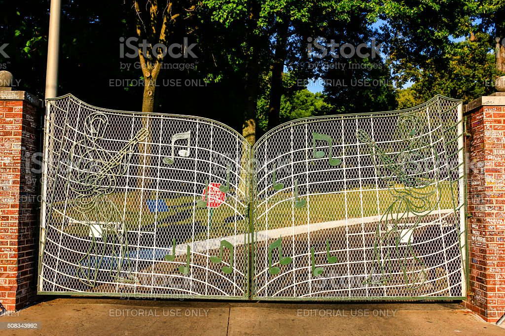Musical design gates to Elvis's home Graceland in Memphis TN stock photo