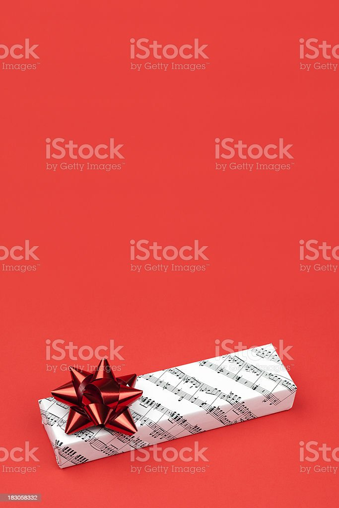 Musical Gift on Red royalty-free stock photo
