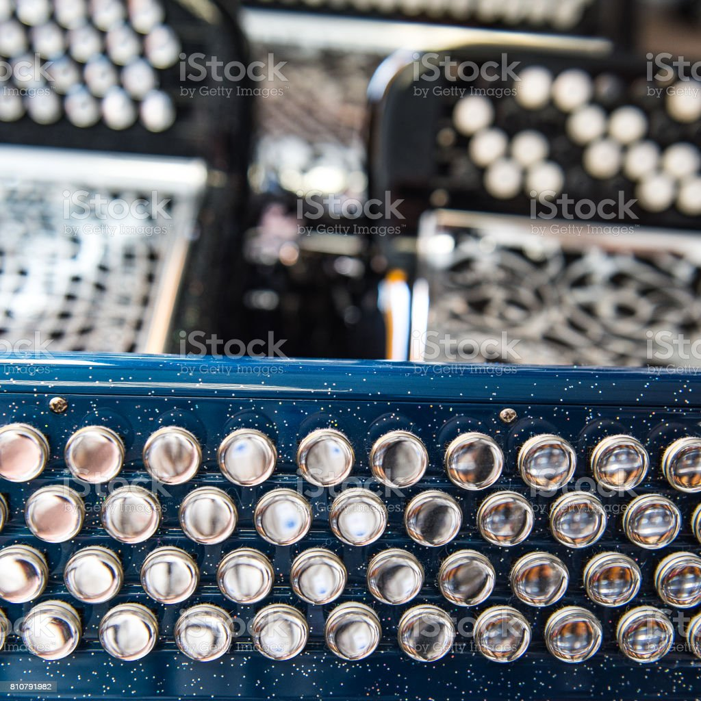 Musical instrument accordion in a shop stock photo