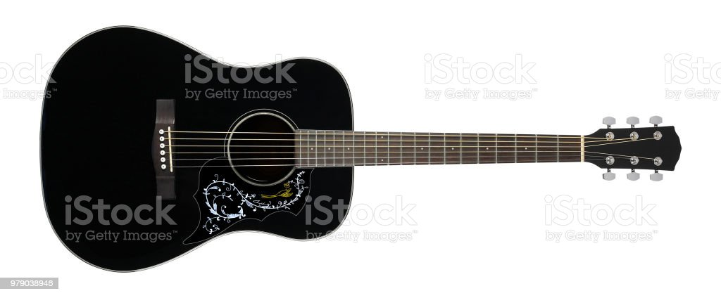 Musical instrument - Black acoustic guitar country flower bird pickguard stock photo