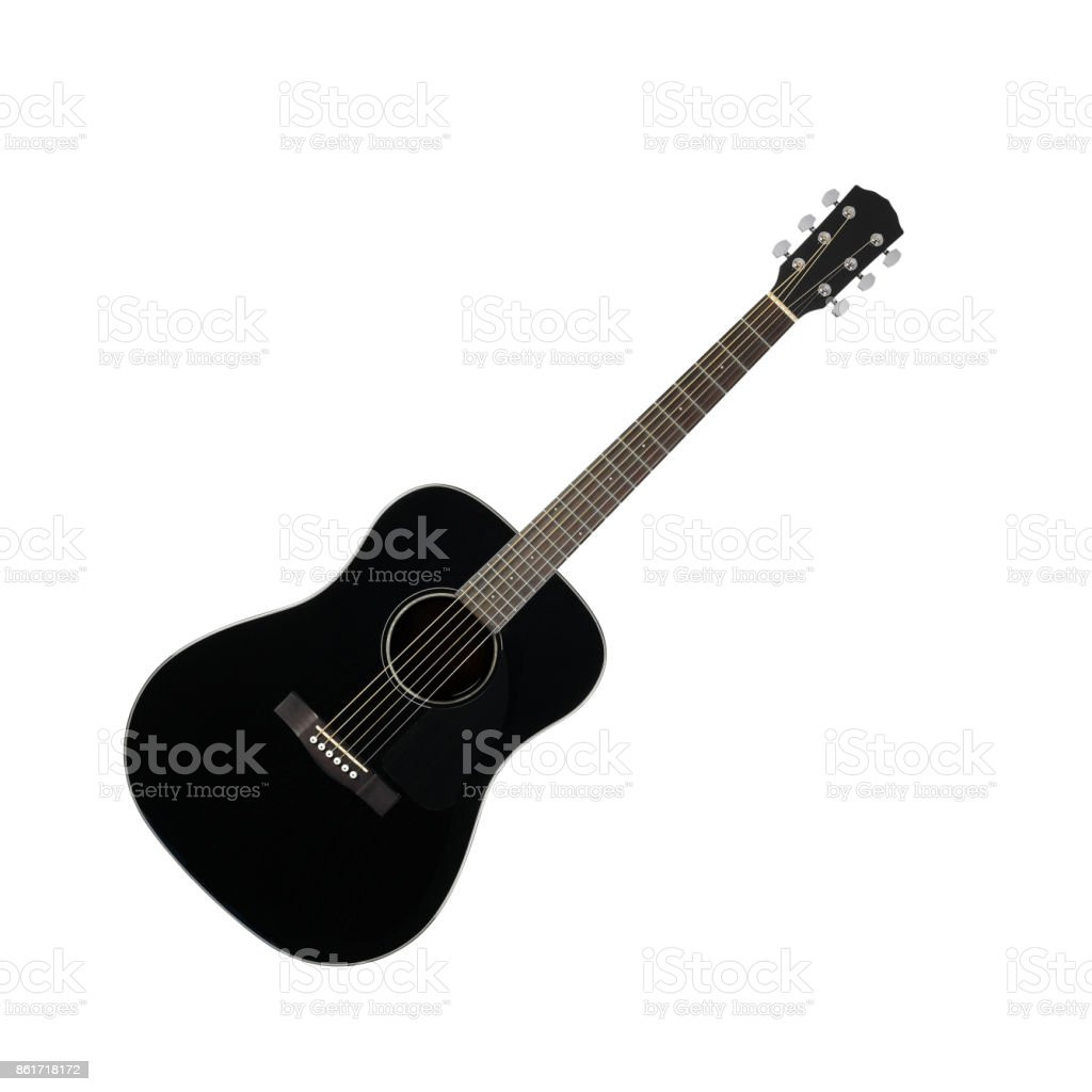 Musical instrument - Black acoustic guitar stock photo