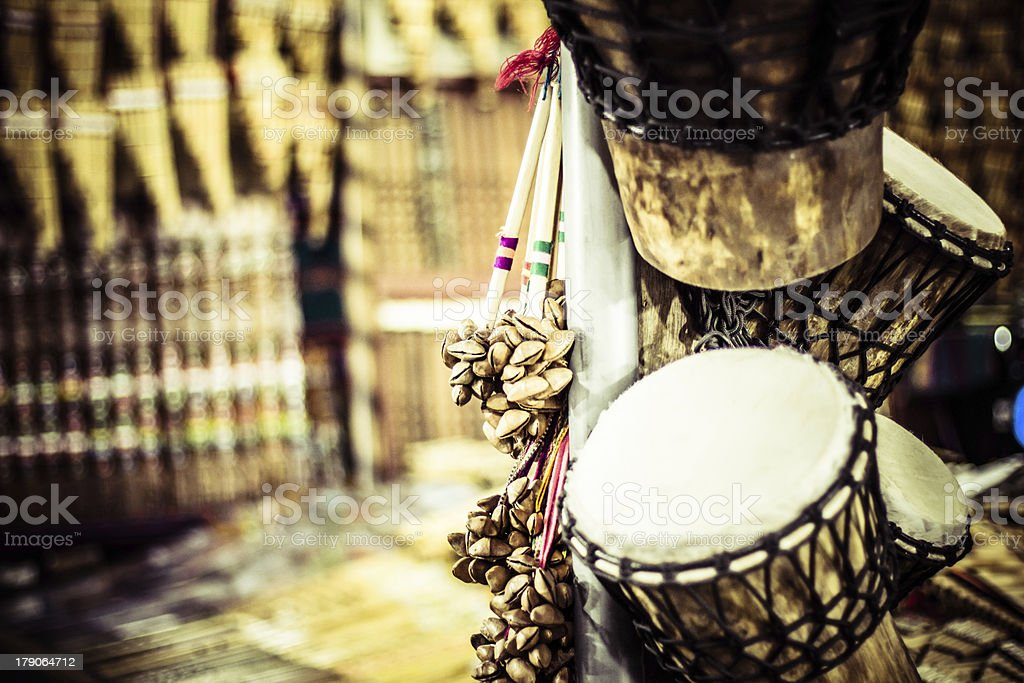 Musical instrument in local market  Peru. royalty-free stock photo