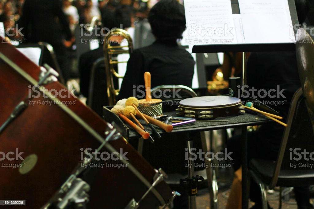 musical instrument on the stage of music band stock photo