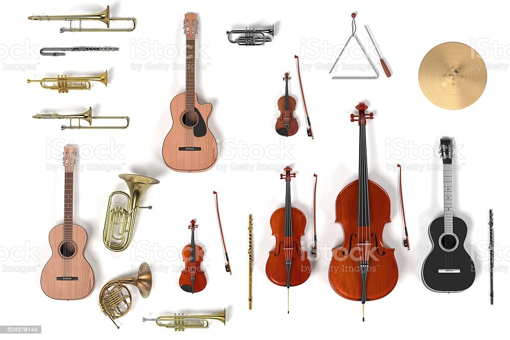 musical instrument set stock photo