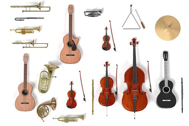 musical instrument set - musical instrument stock photos and pictures