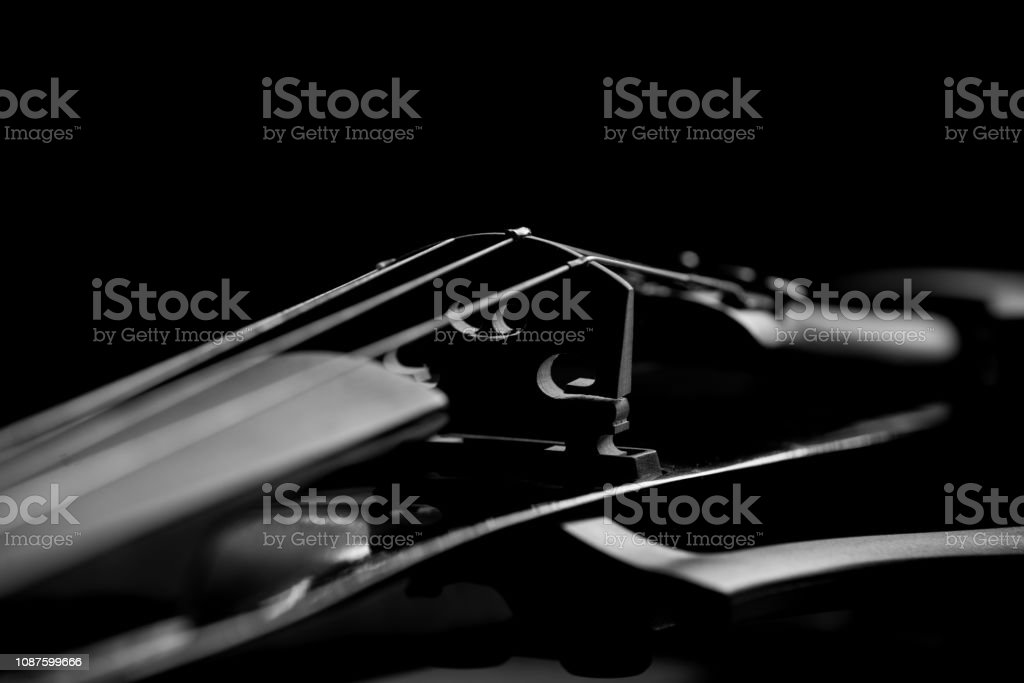 musical instrument strings close up. Strings electronic violin
