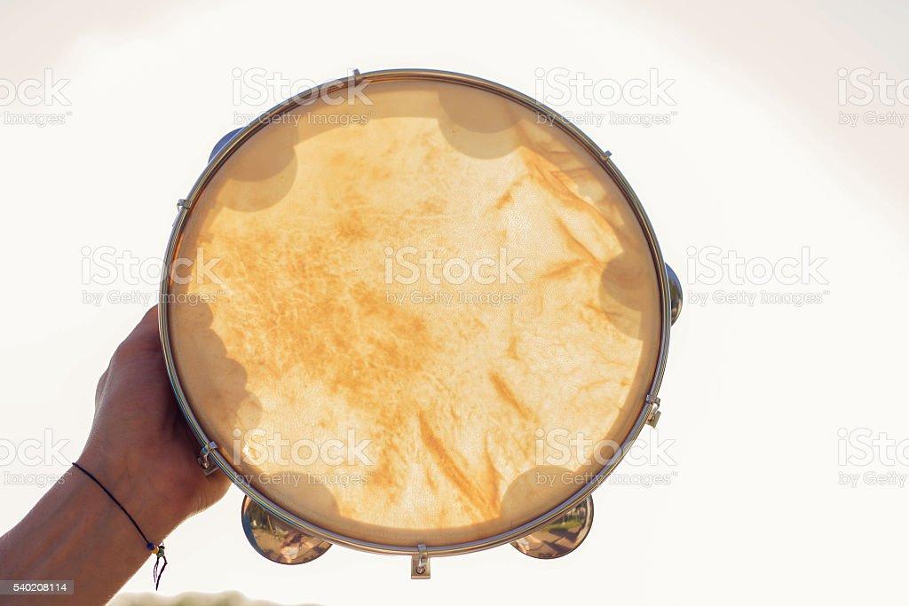 Musical instrument tambourine or pandeiro stock photo