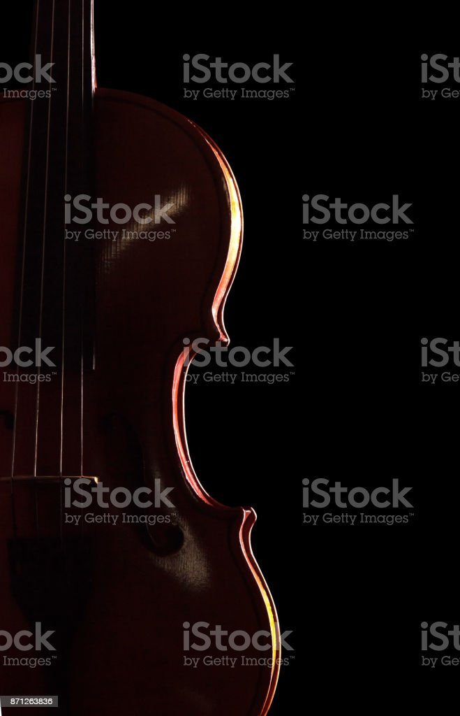 Musical instrument - violin isolated on black stock photo