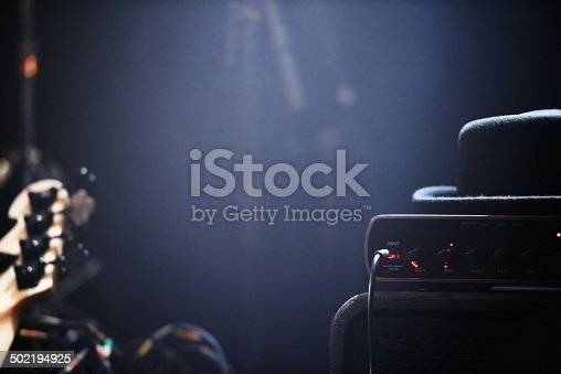 Musical instruments and amplifiers on a stage waiting to be played.