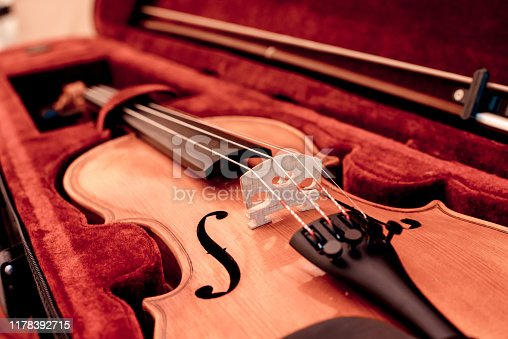 Musical instruments. Close up of Violin and bow in open dark red case. Selective focus, music concept.