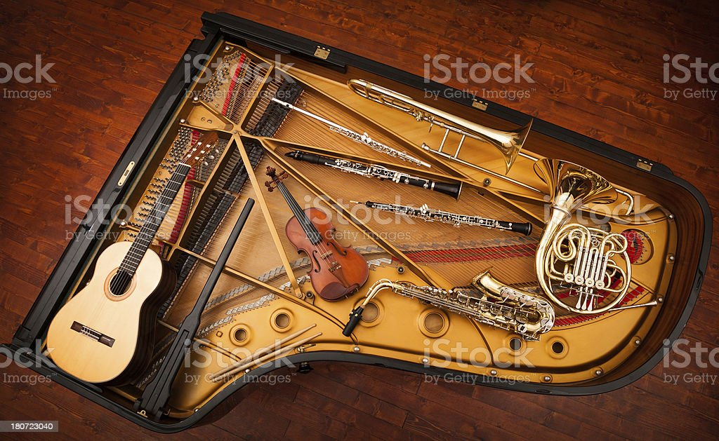 Musical instruments collage stock photo