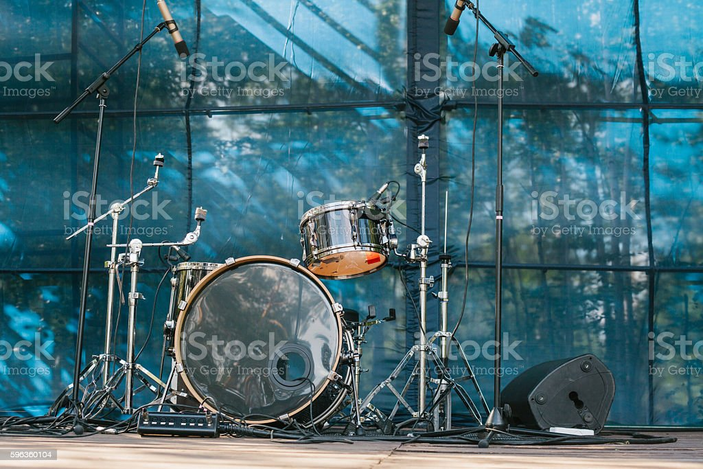 Musical instruments. Scene. Entertainment and outdoor concerts. royalty-free stock photo