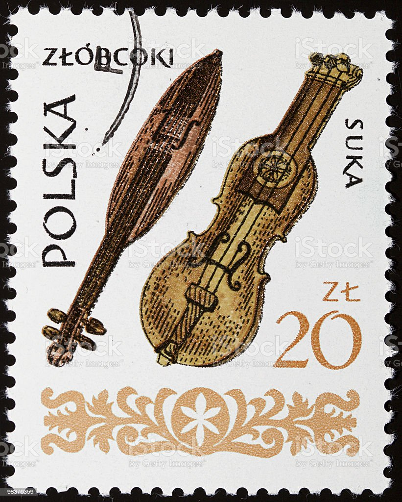 Musical instruments stamp royalty-free stock photo