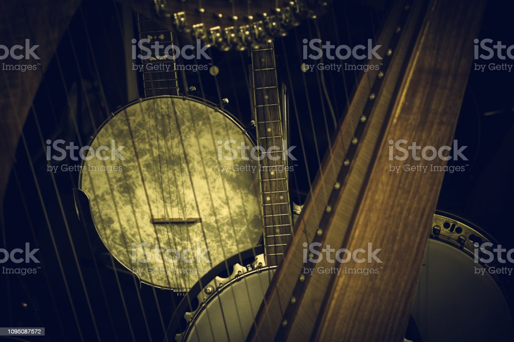 String musical instruments in store, music and hobbie