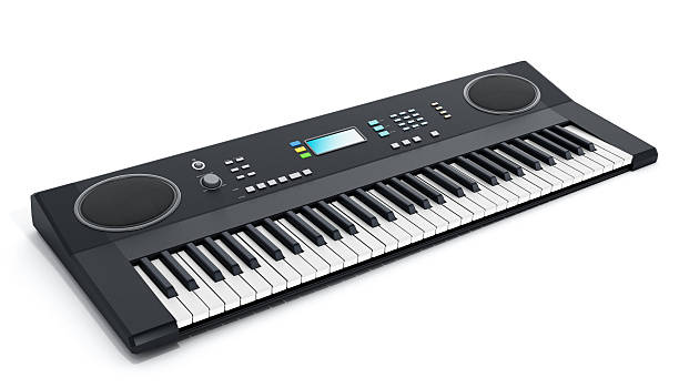 Musical keyboard Musical keyboard with generic design isolated on white. synthesizer stock pictures, royalty-free photos & images