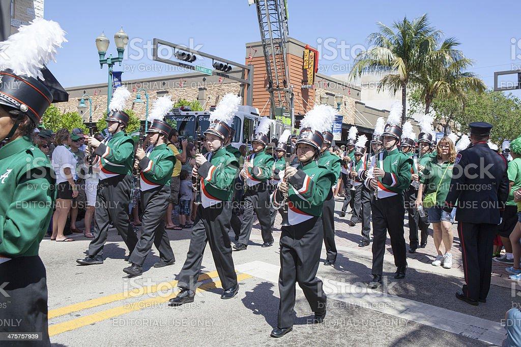 Musical marching band at St. Patrick's Day parade stock photo