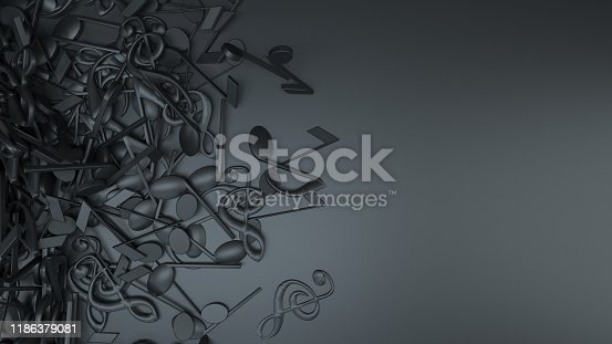 Musical Notes, Treble Clef, Music, Audio, Sound, Background, Abstract, Black background.