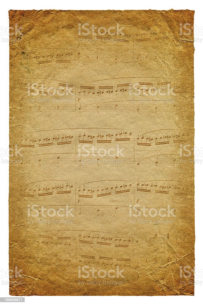 Musical Note Page paper textured background stock photo
