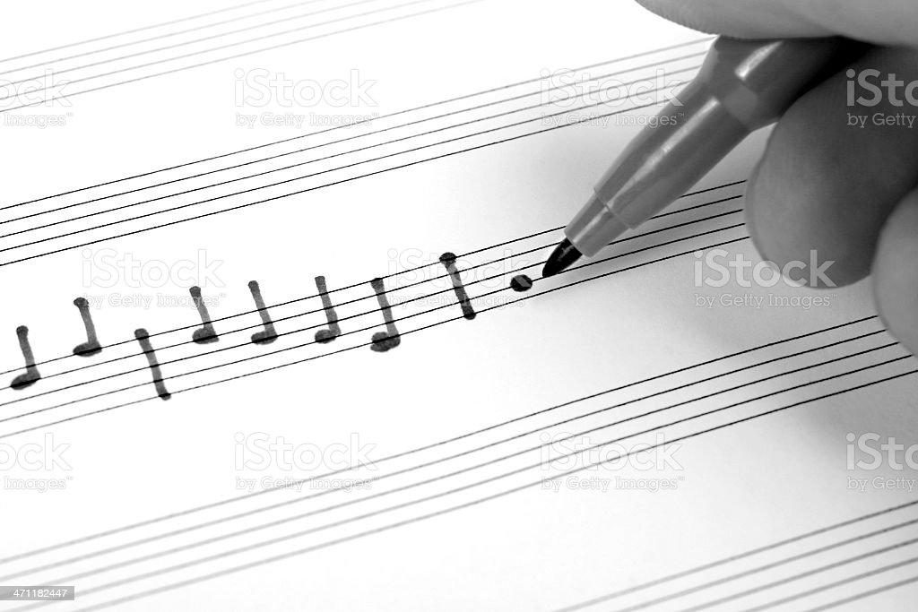 close-up of musical notes