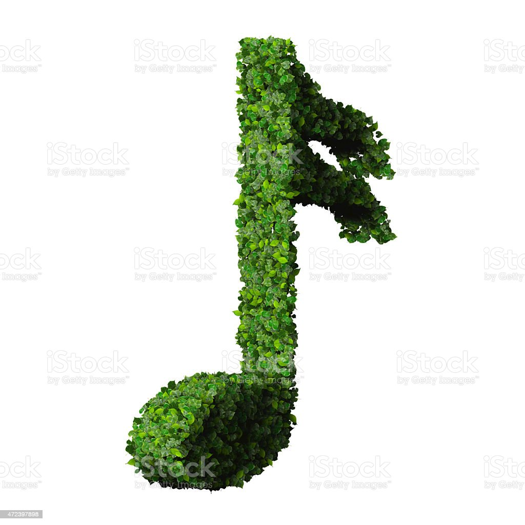 Musical note semiquaver symbol made from green leaves stock photo