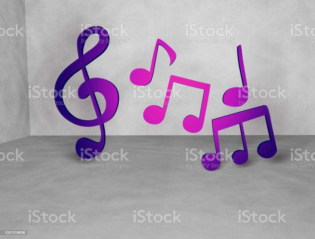 Musical notes 3D render, indoor stock photo