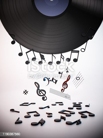 Musical notes and symbols falling to the ground from vintage vinyl record.
