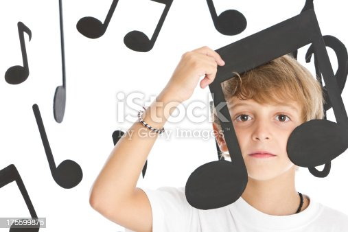 Teen boy grimacing surrounded by musical notes