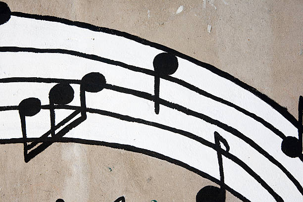 Musical notes graffiti stock photo