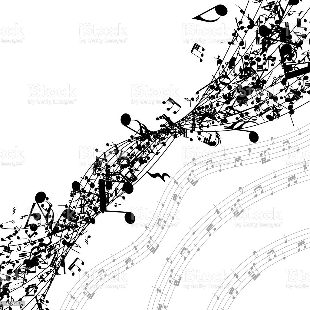 Musical notes in a row stock photo