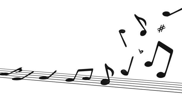 musical notes lifting off staff - pięciolinia zdjęcia i obrazy z banku zdjęć