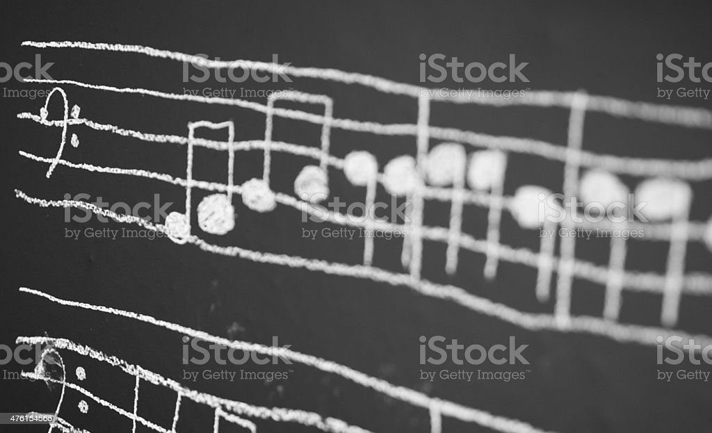 Musical Notes on a black board royalty-free stock photo