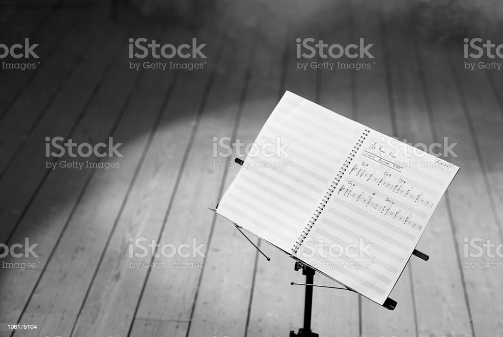 Musical Notes on Stand, Black and White royalty-free stock photo