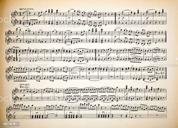 """""""Old musical notes, classic music printed on paper."""""""