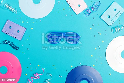 istock Musical objects on a blue background 841053934