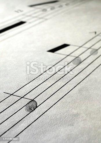 Close up Music paper fingerprint