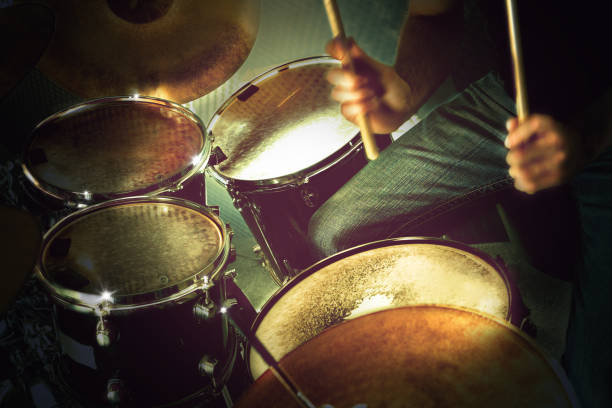 Musical performance on stage.Recreation and music show Drum on stage.Live music and instruments. drummer stock pictures, royalty-free photos & images