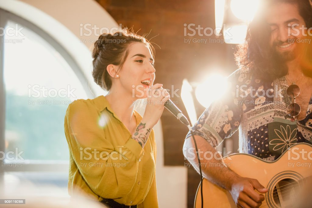 Musical Performers at an Event stock photo