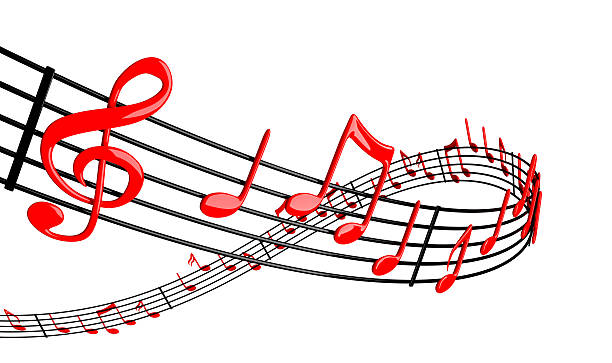 A musical piece with red piano notes stock photo