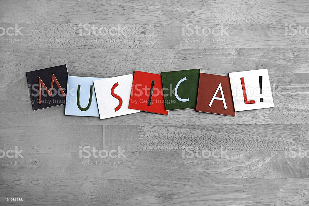 Musical, sign series for music, vocals, singing, dance, bands stock photo